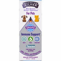 Sovereign Silver, Bio-Active Silver Hydrosol, For Pets, Immune Support Drops , 4 fl oz(pack of 2)