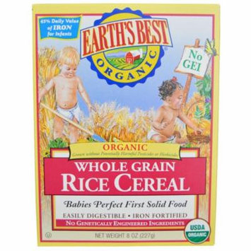 Earth's Best, Organic, Whole Grain Rice Cereal, 8 oz (pack of 6)