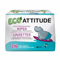 ATTITUDE, Eco Wipes, Fragrance-Free, 216 Wipes(pack of 1)
