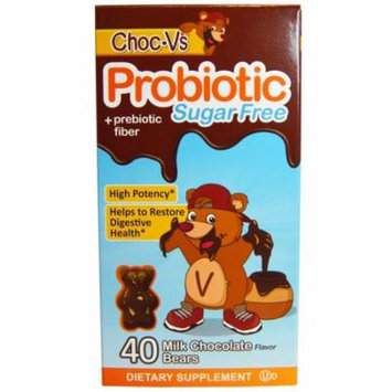 Yum-V's, Probiotic + Prebiotic Fiber, Sugar-Free Milk Chocolate, 40 Bears(pack of 4)