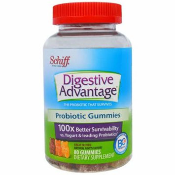 Schiff, Digestive Advantage, Probiotic Gummies, Natural Fruit Flavors, 80 Gummies(pack of 2)