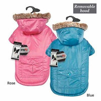Reversible Thermal Parka For Dogs Removable Fur Lined Hood Pink Or Blue Color (Large Blue)