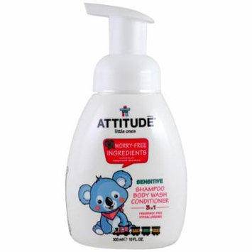 ATTITUDE, Little Ones, 3 in 1 Shampoo, Body Wash, Conditioner, Fragrance Free, 10 fl oz(pack of 4)