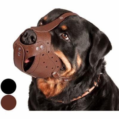 CollarDirect Leather Dog Muzzle Rottweiler Secure Basket, Brown