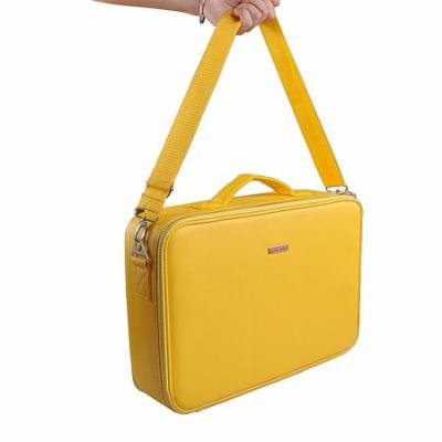 Portable Professional Make up Case Large Size Train Case Make up Artist Organizer for Make up Tool Attach on the Trolley for Trave(Yellow)