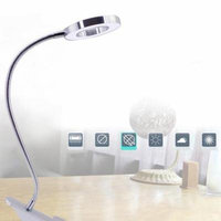 EECOO Desk Magnifier LED USB Tattoo Beauty Magnifier Lamp, 2.5X Cold Light Magnifying Lamp Metal Tube Clip Swing Arm Desk Lamp Tattoo Lamp for Eyebrow Tattoo Manicure Eyelash Extension Read