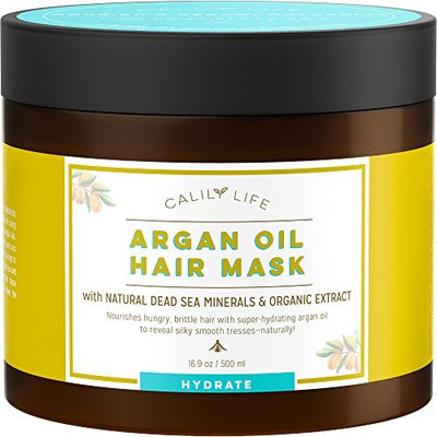 Calily Life Organic Moroccan Argan Oil Hair Mask with Dead Sea Minerals, 17 Oz.-Deep Conditioner and Nourishing - Detoxifies, Softens, Strengthens & Shines – Promotes Healing and Natural Hair Growth