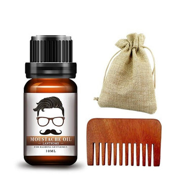 Ownsig 10ml Beard Care Essential Oil Conditioner Organic Moisturizing Groomed Mustaches Care Oil with Comb 01#
