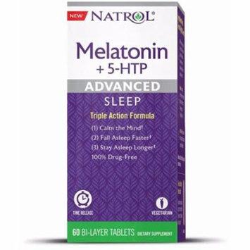 4 Pack - Natrol Advanced Sleep Melatonin + 5 HTP Bi-Layer Tablets 60 ea