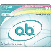 6 Pack - o.b. Fluid-Lock Multi-Pack Tampons, Regular, Super, Super Plus 40 ea