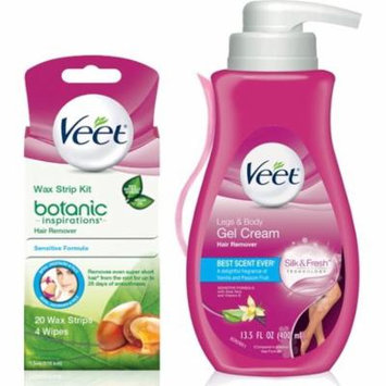 2 Pack - Veet Gel Hair Removal Cream, Legs & Body 13.52 Oz & Botanic Inspirations Wax Strip Kit Bikini, Underarm, Face