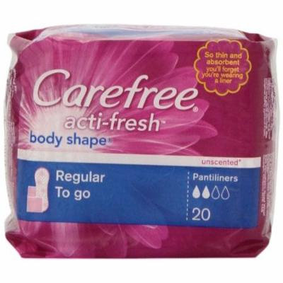 Carefree Body Shape Pantiliners, Regular To Go Unscented, 20 ct