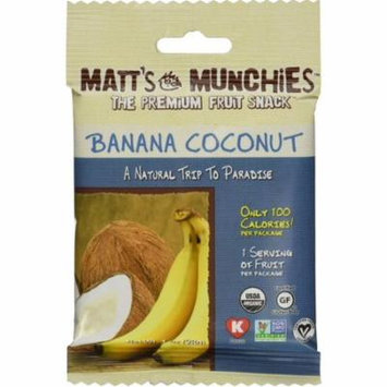 4 Pack - Matt's Munchies Organic Fruit Snack, 1 oz bags, Banana Coconut 12 bags