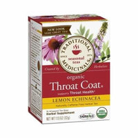 2 Packs of Traditional Medicinals Organic Throat Coat Lemon Echinacea Herbal Tea - Caffeine Free - 16 Bags by Traditional Medicinals