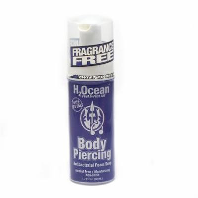 H2ocean Body Piercing Aftercare Antibacterial Foam Soap 1.7 Fl Oz with Sea Salt