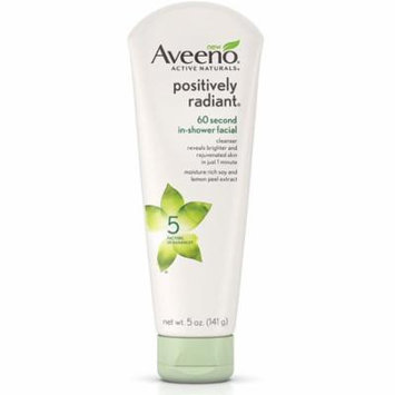 3 Pack - Aveeno Active Naturals Positively Radiant 60 Second In-Shower Facial Cleanser 5 oz