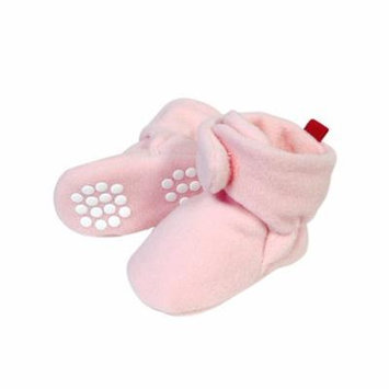 Wrapables® Fleece Baby Booties with Anti-Skid Bottoms, Pink, 6-12 M