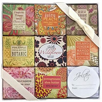 French Milled Botanical Soap Sampler Set in Nine Fabulous Scents, Individually Wrapped Vegetable Based Mini Soaps with Essential Oils, Shea Butter and Natural Extracts (Flowers and Fruits)