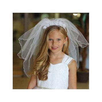 Angels Garment Girls White Cross Motif Communion Flower Girl Headband Veil