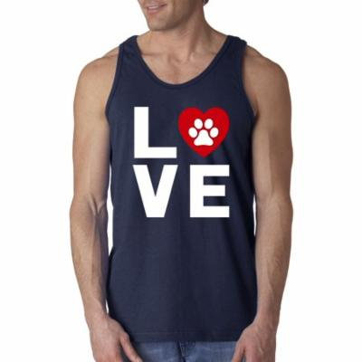 New Way 838 - Men's Tank-Top Love Dogs Puppies Heart Paw Print XL Navy