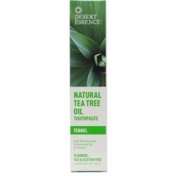 3 Pack - Desert Essence Natural Tea Tree Oil Toothpaste, Fennel 6.25 oz