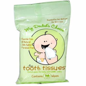 Tooth Tissues, My Dentist's Choice, Dental Wipes for Baby and Toddler Smiles, 30 Wipes(pack of 6)