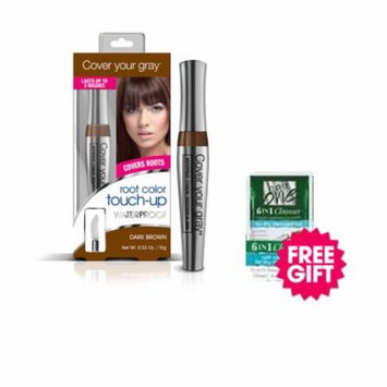Cover Your Gray Waterproof Root Touch-Up - Dark Brown with BONUS Coconut Hair Cleanser Packette
