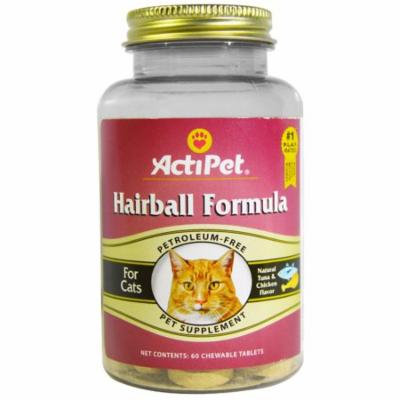 Actipet, Hairball Formula, For Cats, Natural Tuna & Chicken Flavor, 60 Chewable Tablets(pack of 6)