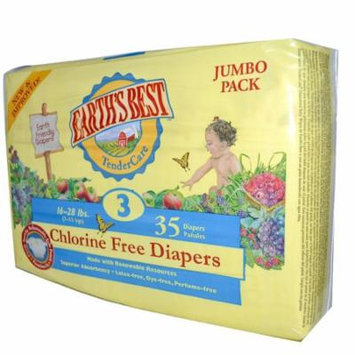 Earth's Best, TenderCare, Chlorine Free Diapers, Size 3, 16-28 lbs, 35 Diapers(pack of 3)