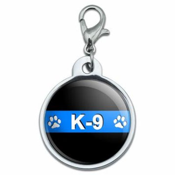 Thin Blue Line K-9 Unit Paw Prints Police Small Metal ID Pet Dog Tag
