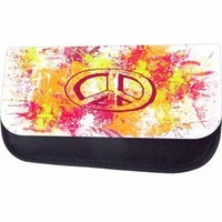Watercolor Splash Peace Sign Jacks Outlet TM Nylon-Lined Cosmetic Case