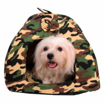 Camouflage Pet House for Small Dogs/Cats, Foldable Winter Warm Pet Beds for Puppy (under 3 lbs), Indoor/Outdoor Direct Wash Pet Cushion Mat for Animals(L*W*H:30*30*30)