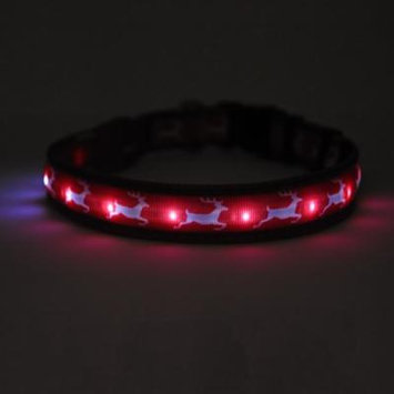 Yellow Dog Orion LED Collar - Reindeer Print (Small to Extra Large)