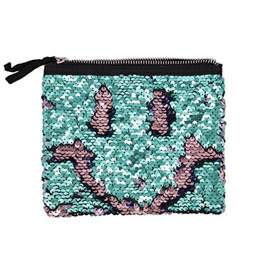 StylesILove Womens Girls Flip Sequin Makeup Bag Reversible Mermaid Sequin Tow Tone Sequin Cosmetic Case Multi-use Pouch