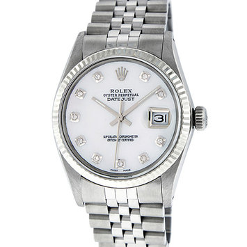 Pre-Owned Rolex Mens Datejust Steel & White Gold MOP Diamond Watch 16014 Jubilee