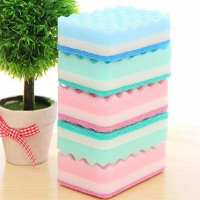 Girl12Queen 5Pcs Thick Wavy Antibacterial Kitchen Sponge Brush Scouring Pads Dish Towels