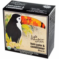 Light Mountain, Natural Hair Color & Conditioner, Black, 4 oz(pack of 2)