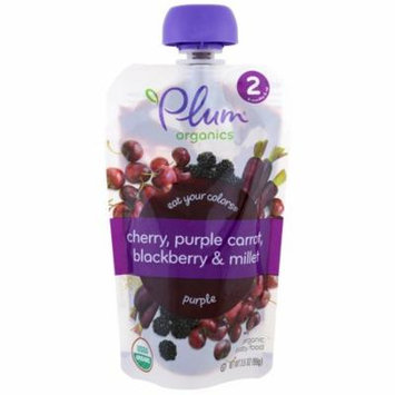 Plum Organics, Stage 2, Eat Your Colors, Purple, Cherry, Purple Carrot, Blackberry & Millet, 3.5 oz(pack of 3)
