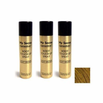 My Secret Correctives Root Touch-Up Spray LIGHT BROWN 2 oz - Three Pack