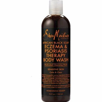 4 Pack - Shea Moisture African Black Soap Eczema & Psoriasis Therapy Body Wash 12 oz