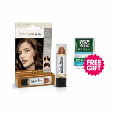 Cover Your Gray Hair Color Stick - Medium Brown with BONUS Coconut Hair Cleanser Packette