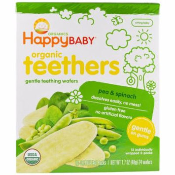 Nurture Inc. (Happy Baby), Gentle Teething Wafers, Organic Teethers, Pea & Spinach, 12 Packs, 0.14 oz (4 g) Each(pack of 2)