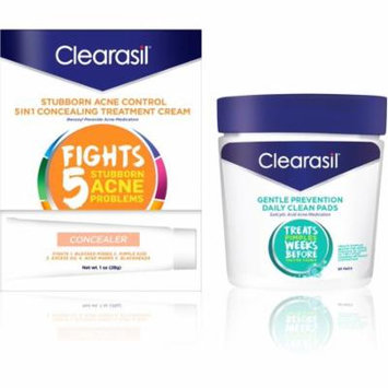 4 Pack - Clearasil Daily Clear, Tinted Acne Treatment Cream, 1 Oz & Hydra-Blast Facial Cleansing Oil-Free Pads, 90 Ct, 1