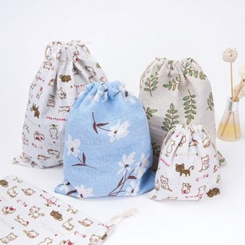 Girl12Queen Drawstring Bag Leaf Flower Cat Packing Organizer Storage Pouch Travel Accessory
