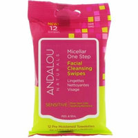 Andalou Naturals, Sensitive, Micellar One Step Facial Cleansing Swipes, 12 Pre Moistened Towelettes(pack of 4)
