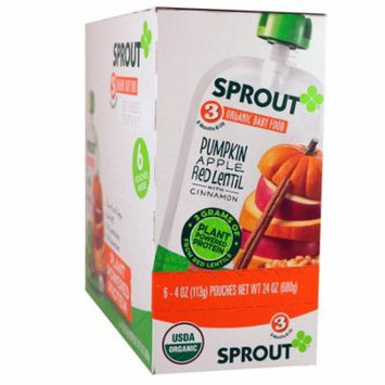 Sprout Organic, Baby Food, Stage 3, Pumpkin, Apple, Red Lentil With Cinnamon, 6 Pouches, 4 oz (113 g) Each(pack of 1)