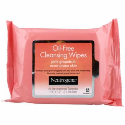 Neutrogena, Oil-Free Cleansing Wipes, Pink Grapefruit, 25 Pre-Moistened Towelettes(pack of 3)