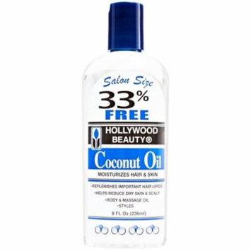 3 Pack - Hollywood Beauty Coconut Oil Moisturizes Hair & Skin 8 oz