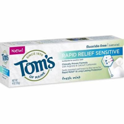 2 Pack - Tom's of Maine Rapid Relief Sensitive Natural Toothpaste, Fresh Mint 4 oz