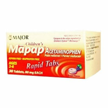 MAPAP 80MG GRAPE RAPID TAB CHLD ACETAMINOPHEN-80 MG Purple 30 TABLETS UPC 309045791462